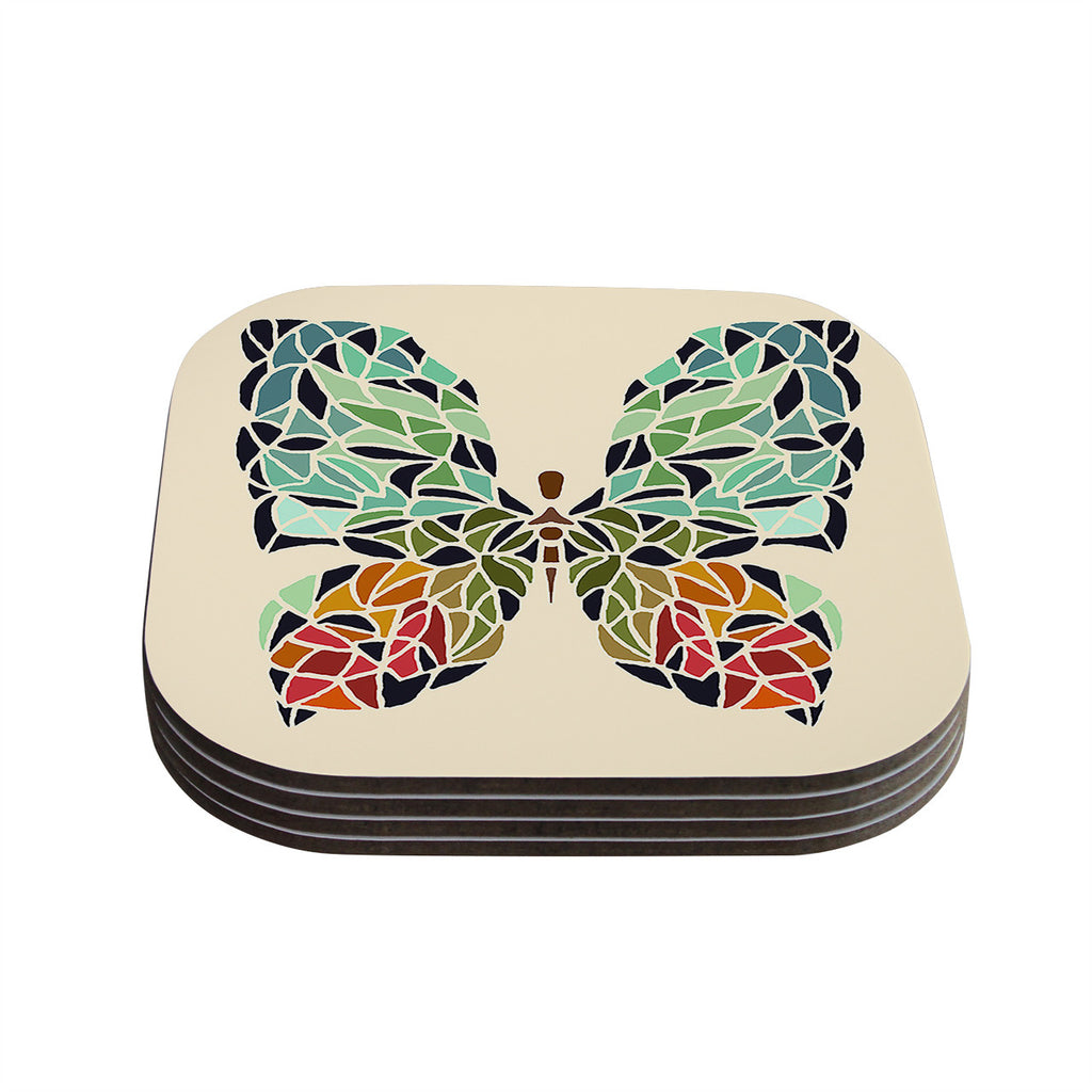 "Art Love Passion ""Butterfly"" Brown Multicolor Coasters (Set of 4)"