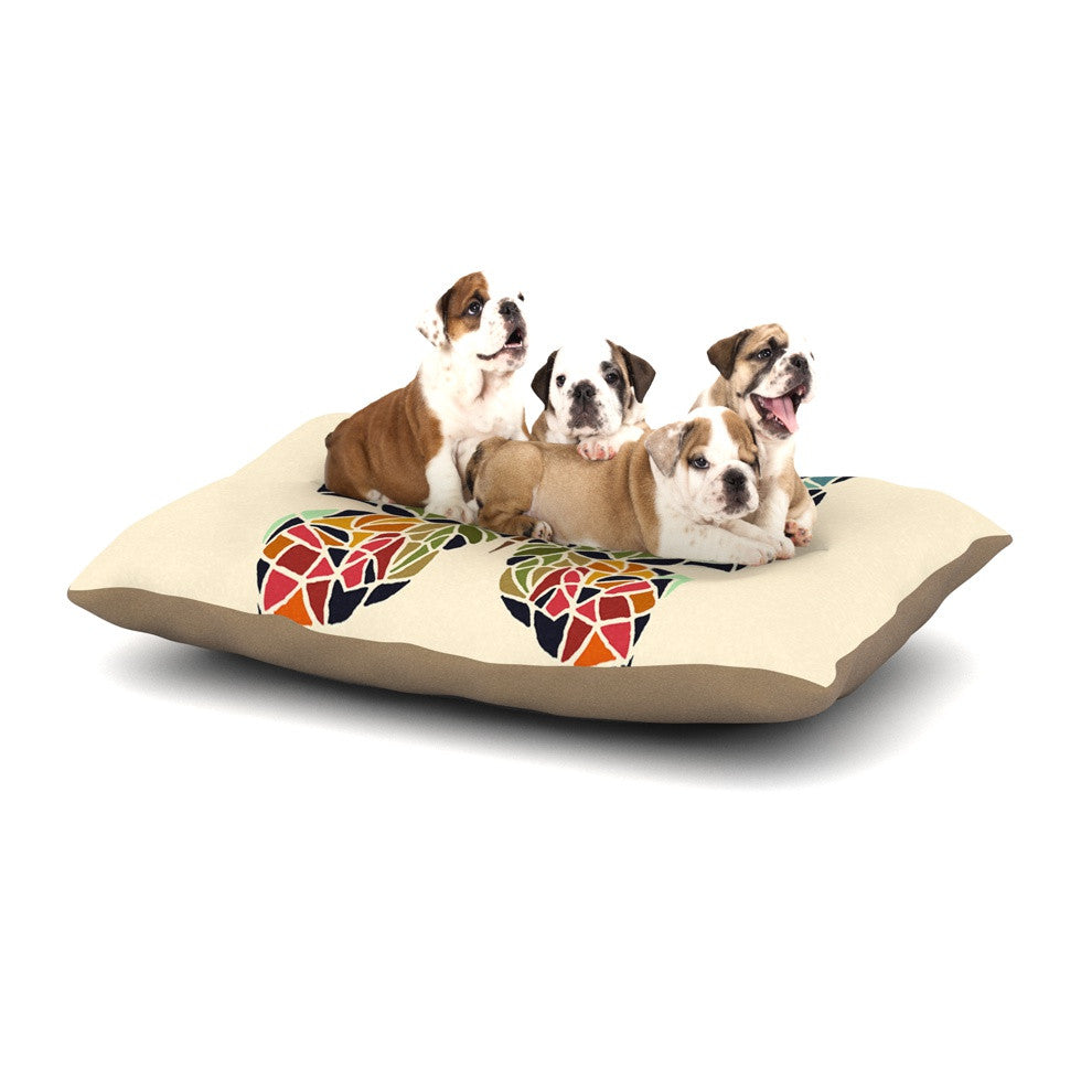 "Art Love Passion ""Butterfly"" Brown Multicolor Dog Bed - KESS InHouse  - 1"