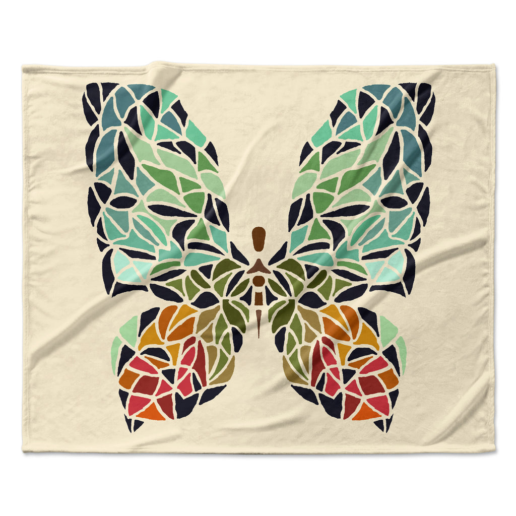 "Art Love Passion ""Butterfly"" Brown Multicolor Fleece Throw Blanket"