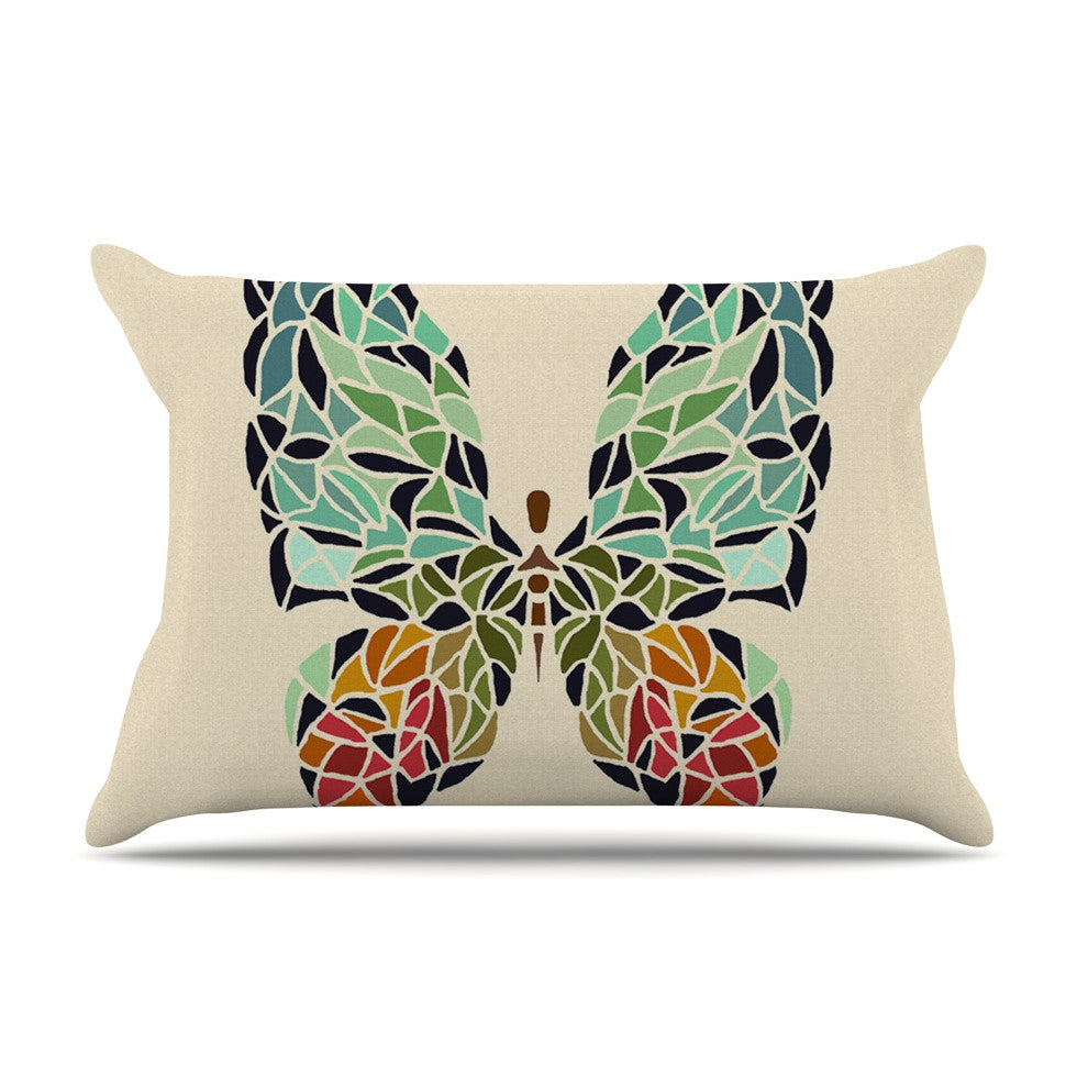"Art Love Passion ""Butterfly"" Brown Multicolor Pillow Sham - KESS InHouse  - 1"
