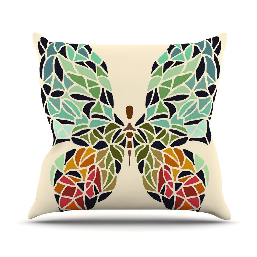 "Art Love Passion ""Butterfly"" Brown Multicolor Throw Pillow - KESS InHouse  - 1"
