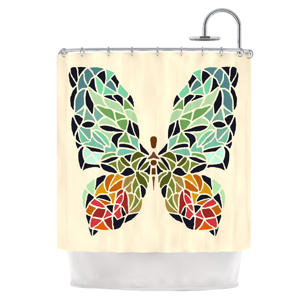 "Art Love Passion ""Butterfly"" Brown Multicolor Shower Curtain - KESS InHouse"