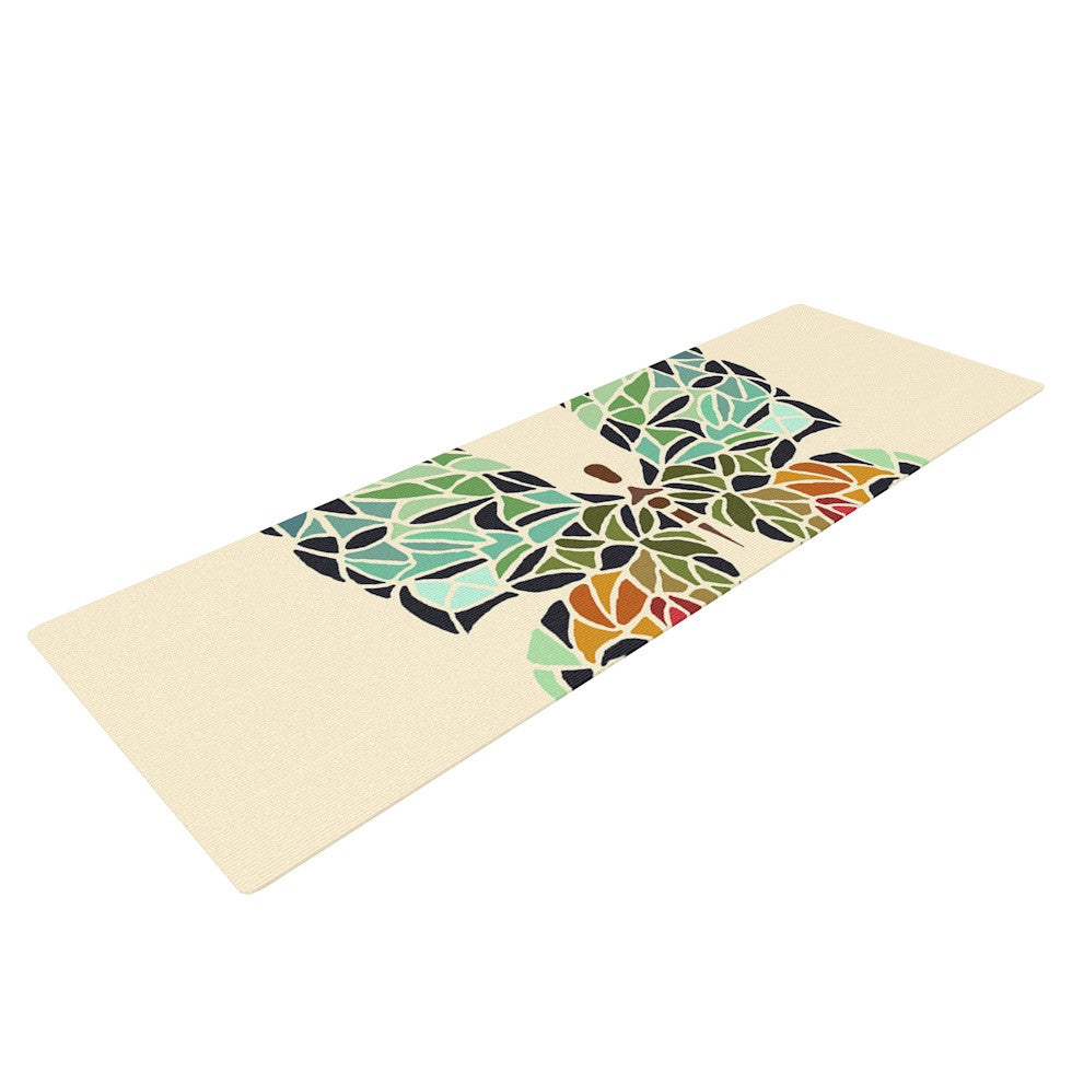 "Art Love Passion ""Butterfly"" Brown Multicolor Yoga Mat - KESS InHouse  - 1"