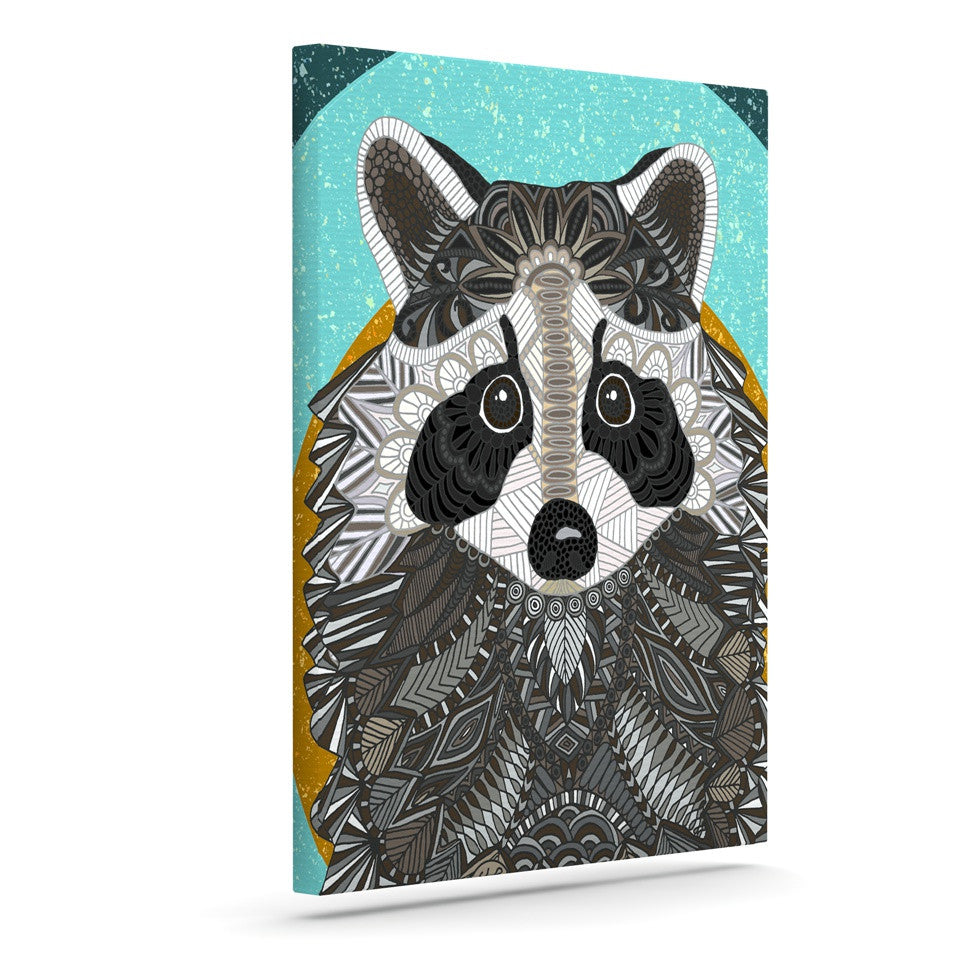 "Art Love Passion ""Racoon in Grass"" Gray Teal Canvas Art - KESS InHouse  - 1"