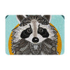 "Art Love Passion ""Racoon in Grass"" Gray Teal Memory Foam Bath Mat - KESS InHouse"