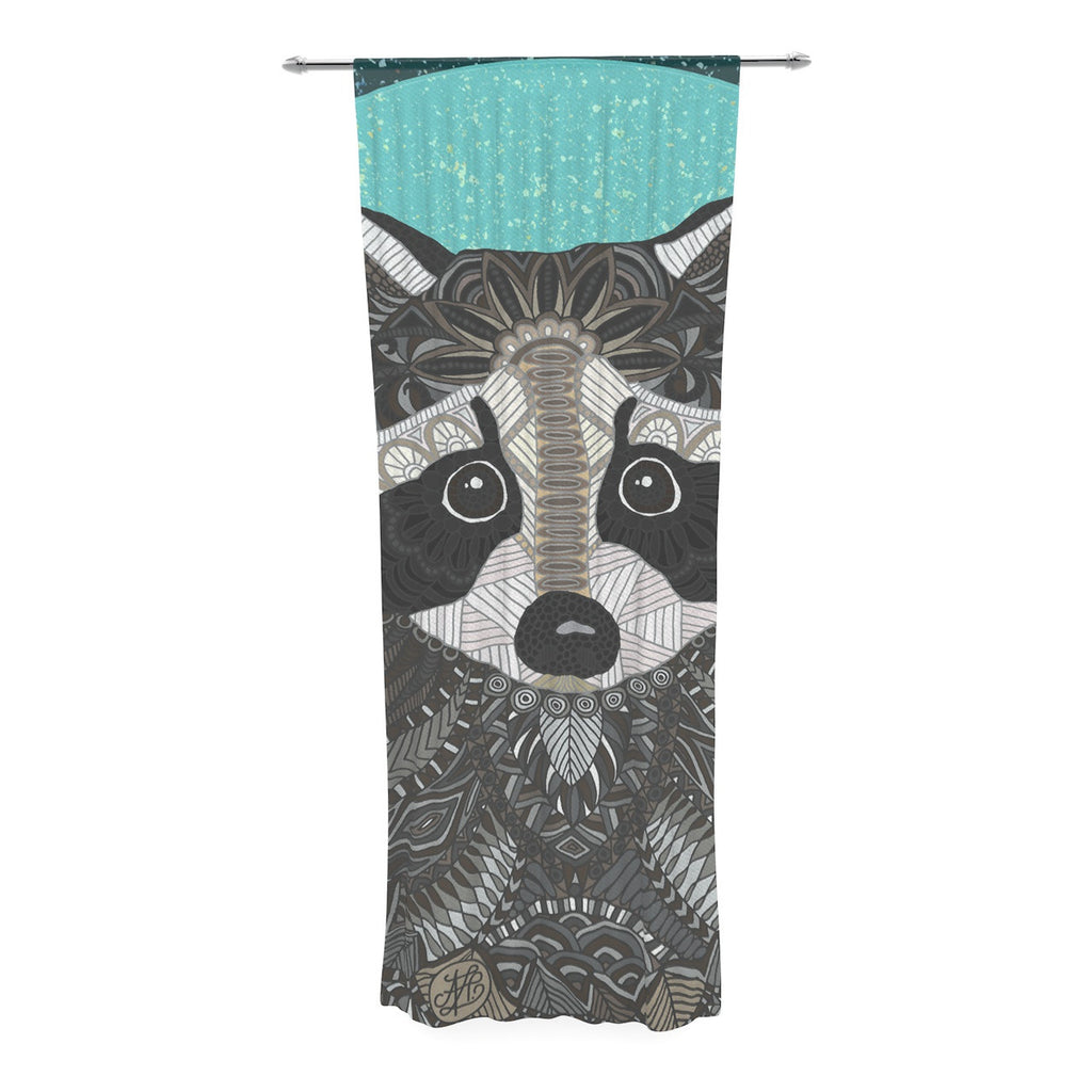 "Art Love Passion ""Racoon in Grass"" Gray Teal Decorative Sheer Curtain - KESS InHouse  - 1"