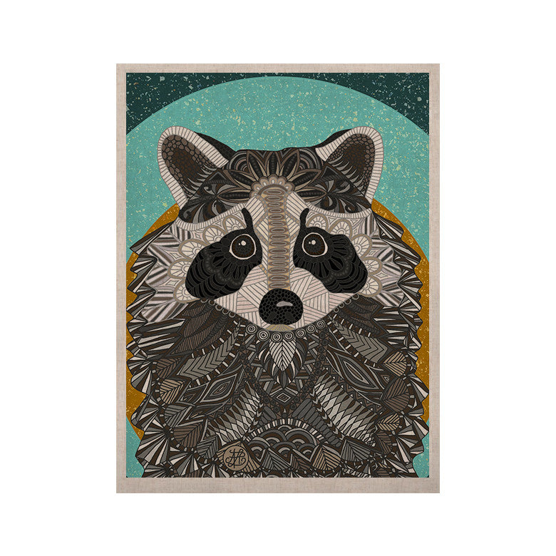 "Art Love Passion ""Racoon in Grass"" Gray Teal KESS Naturals Canvas (Frame not Included) - KESS InHouse  - 1"