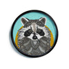 "Art Love Passion ""Racoon in Grass"" Gray Teal Modern Wall Clock"
