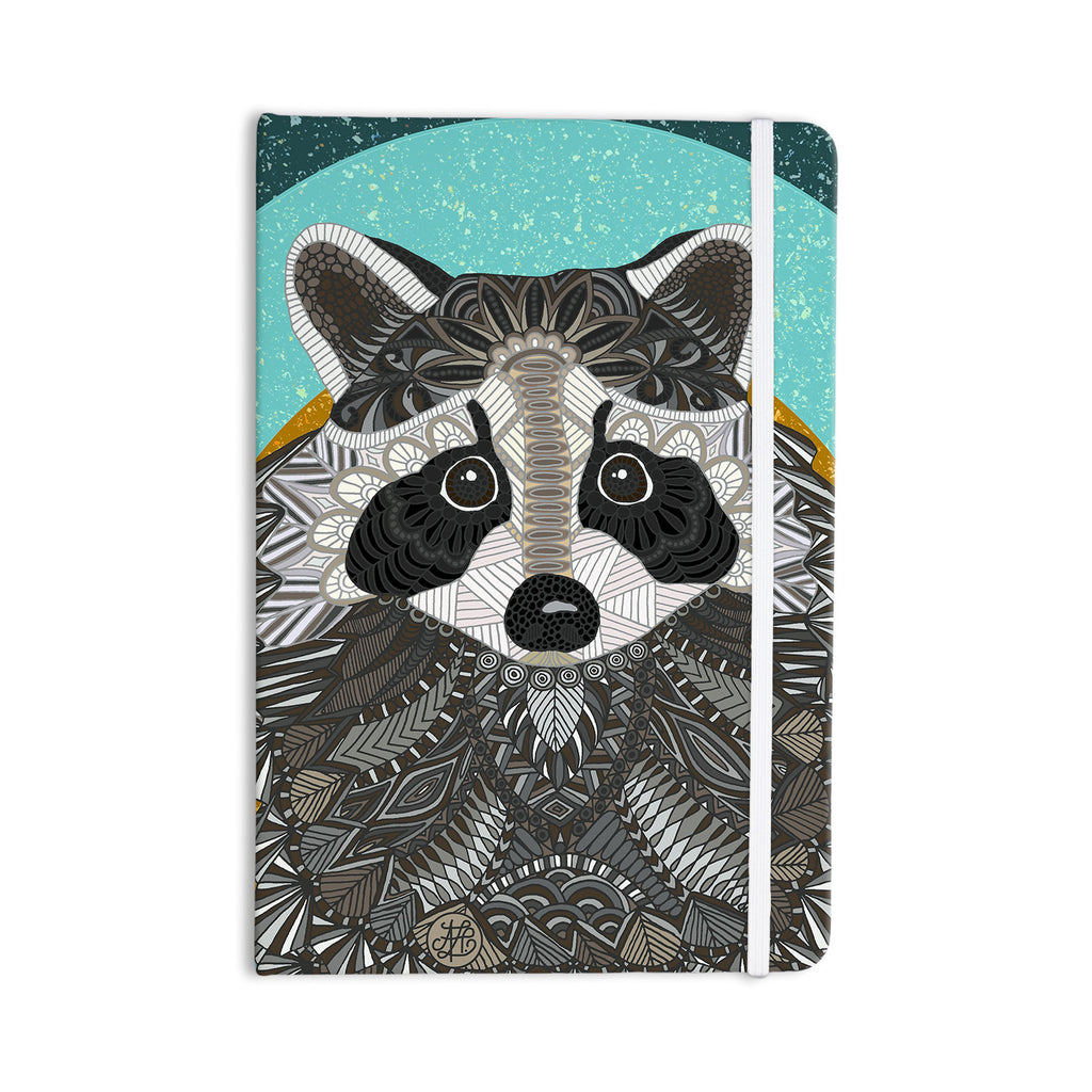 "Art Love Passion ""Racoon in Grass"" Gray Teal Everything Notebook - KESS InHouse  - 1"