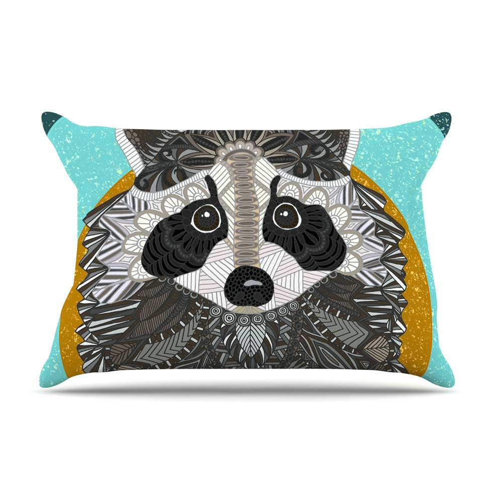 "Art Love Passion ""Racoon in Grass"" Gray Teal Pillow Sham - KESS InHouse  - 1"