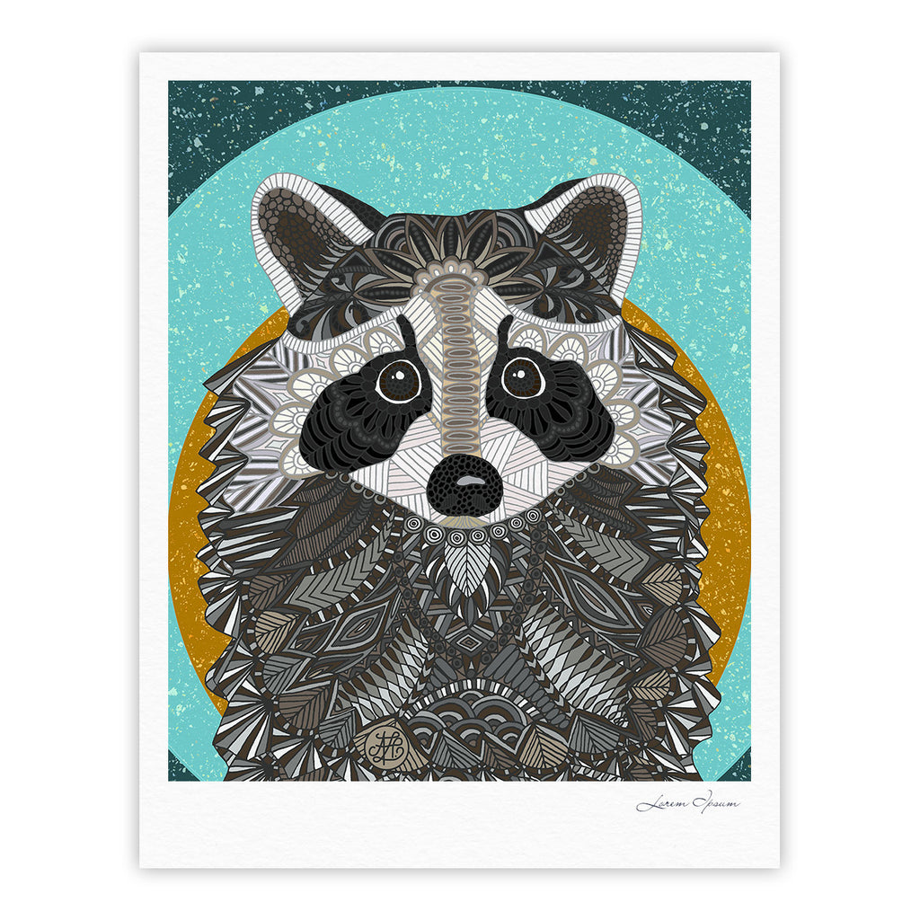 "Art Love Passion ""Racoon in Grass"" Gray Teal Fine Art Gallery Print - KESS InHouse"