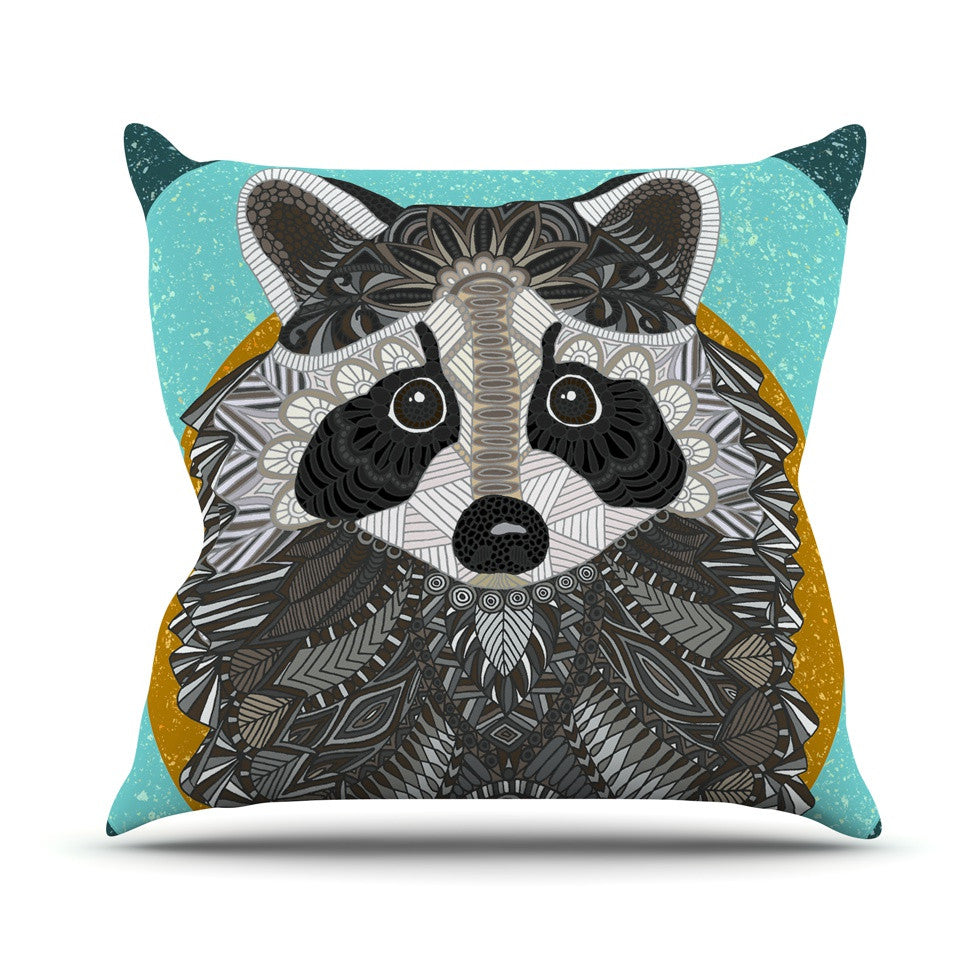 "Art Love Passion ""Racoon in Grass"" Gray Teal Outdoor Throw Pillow - KESS InHouse  - 1"
