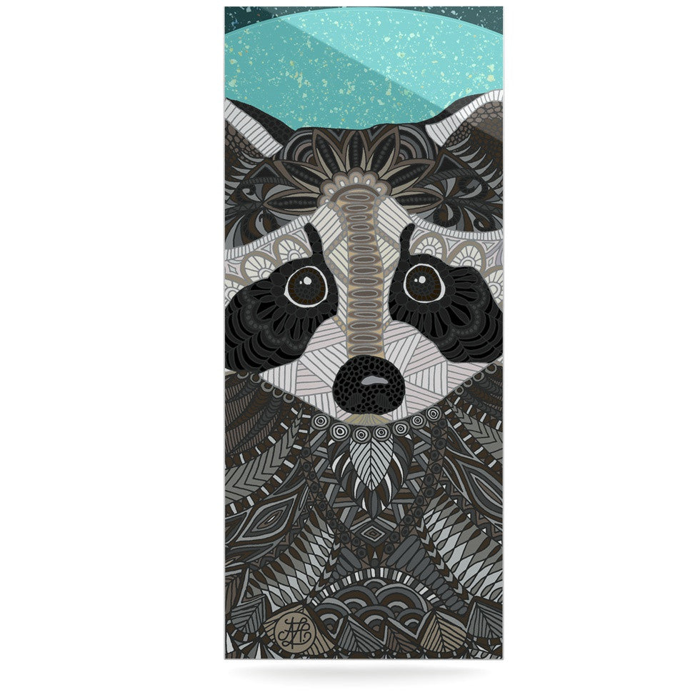 "Art Love Passion ""Racoon in Grass"" Gray Teal Luxe Rectangle Panel - KESS InHouse  - 1"