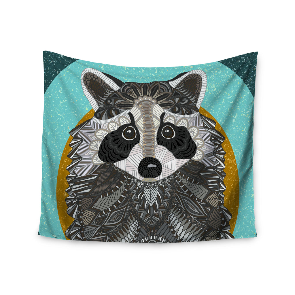 "Art Love Passion ""Racoon in Grass"" Gray Teal Wall Tapestry - KESS InHouse  - 1"