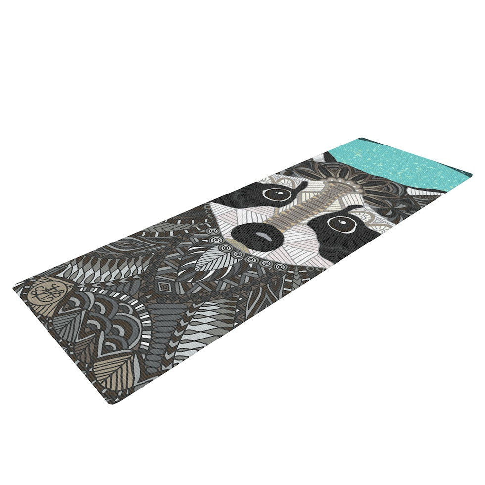 "Art Love Passion ""Racoon in Grass"" Gray Teal Yoga Mat - KESS InHouse  - 1"