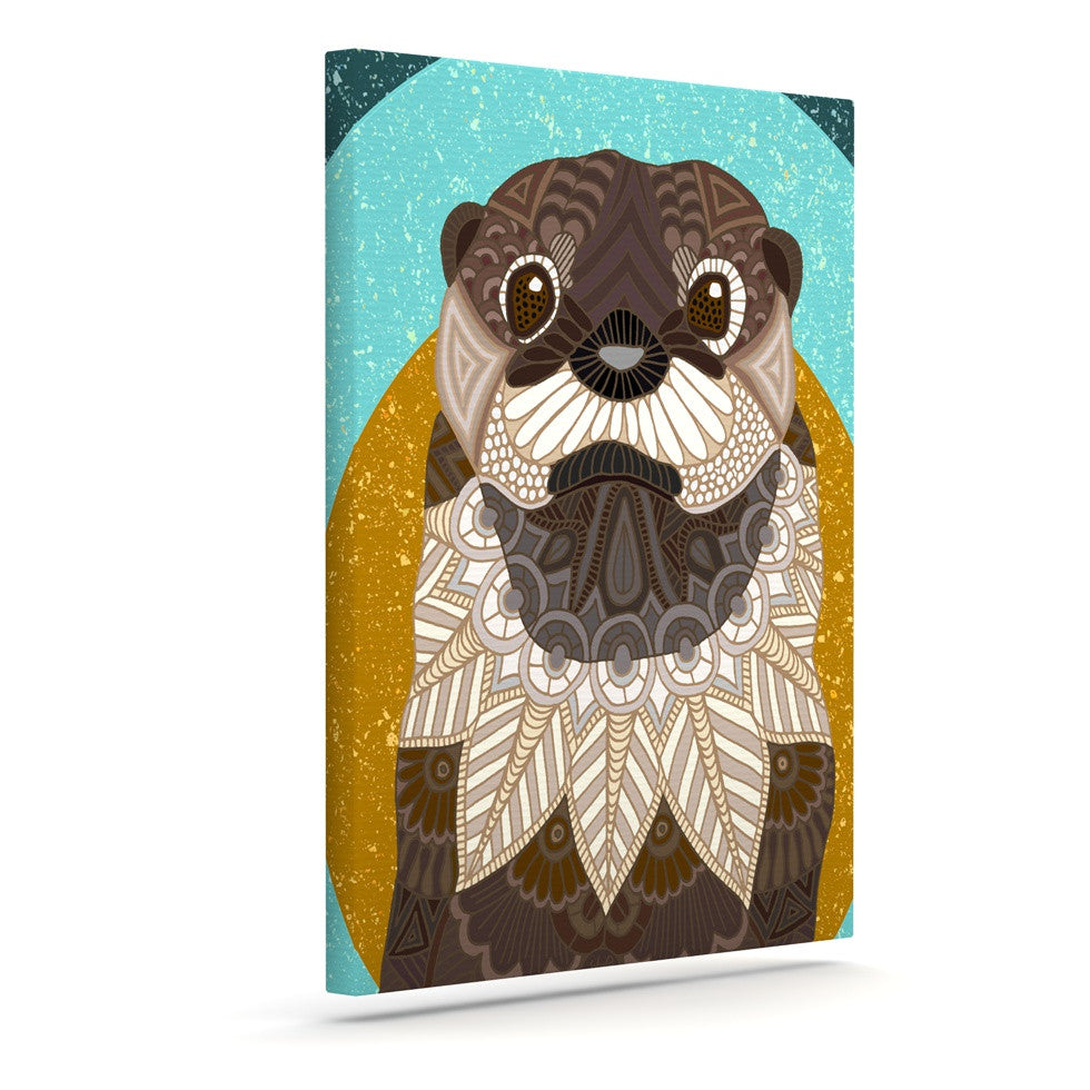 "Art Love Passion ""Otter in Water"" Blue Brown Canvas Art - KESS InHouse  - 1"