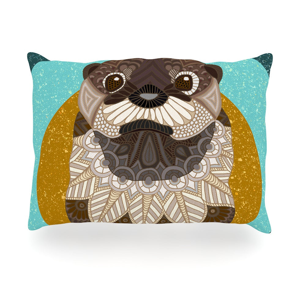 "Art Love Passion ""Otter in Water"" Blue Brown Oblong Pillow - KESS InHouse"