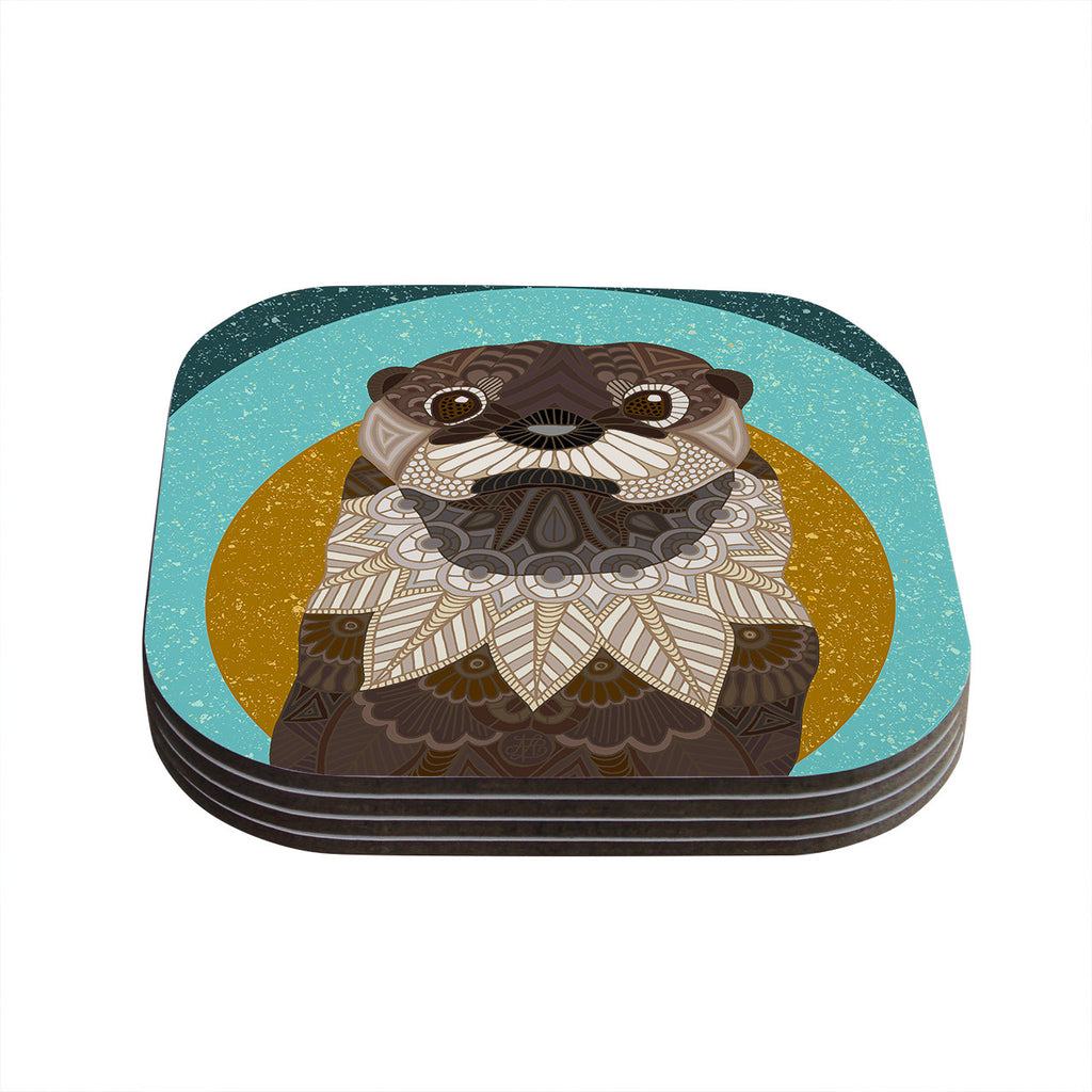 "Art Love Passion ""Otter in Water"" Blue Brown Coasters (Set of 4)"
