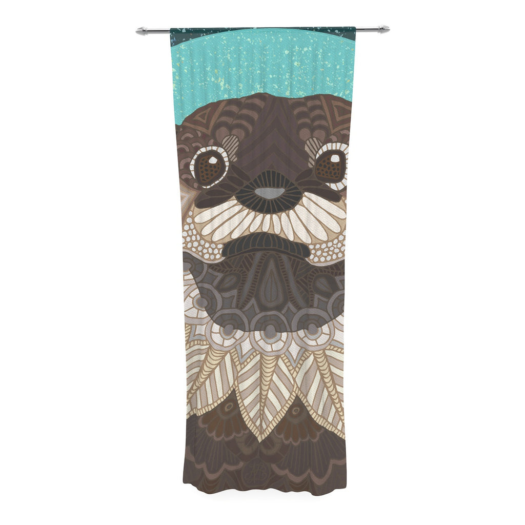 "Art Love Passion ""Otter in Water"" Blue Brown Decorative Sheer Curtain - KESS InHouse  - 1"