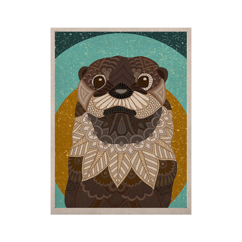 "Art Love Passion ""Otter in Water"" Blue Brown KESS Naturals Canvas (Frame not Included) - KESS InHouse  - 1"
