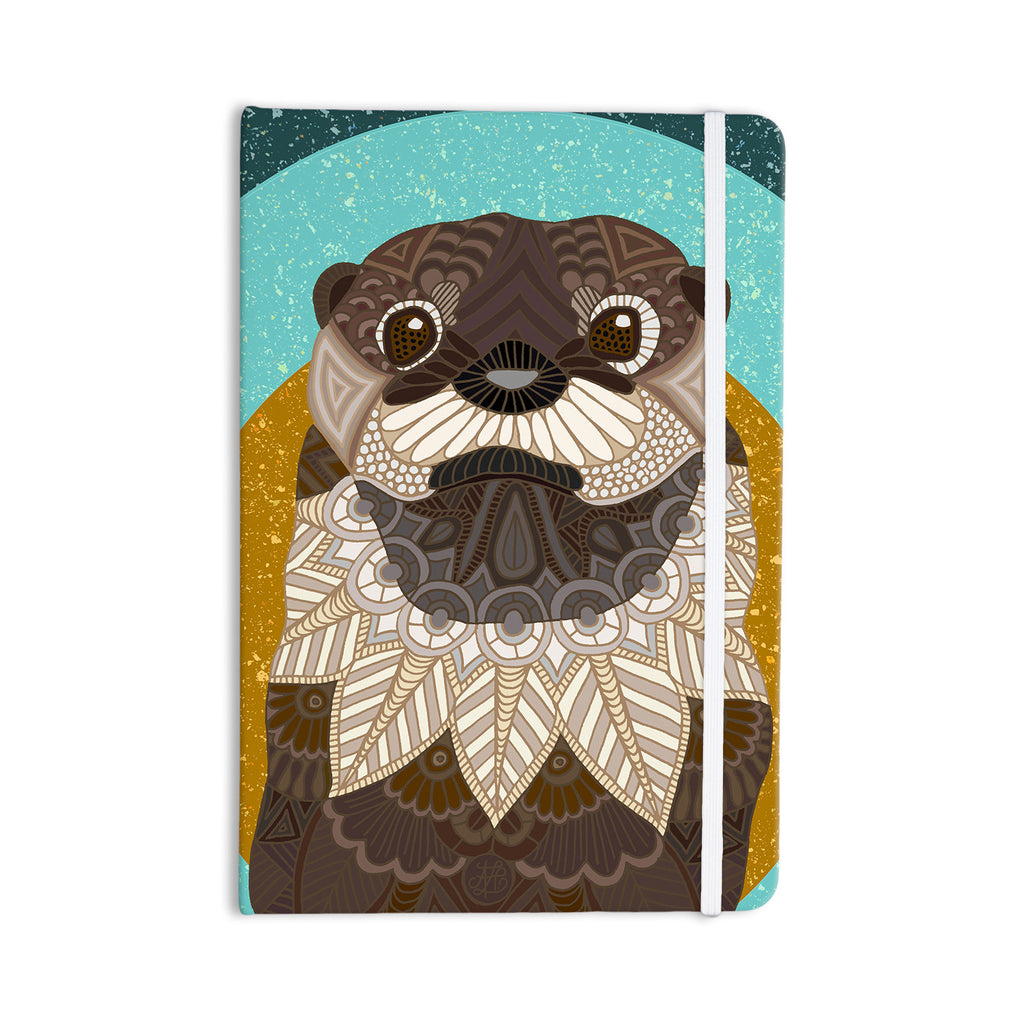 "Art Love Passion ""Otter in Water"" Blue Brown Everything Notebook - KESS InHouse  - 1"
