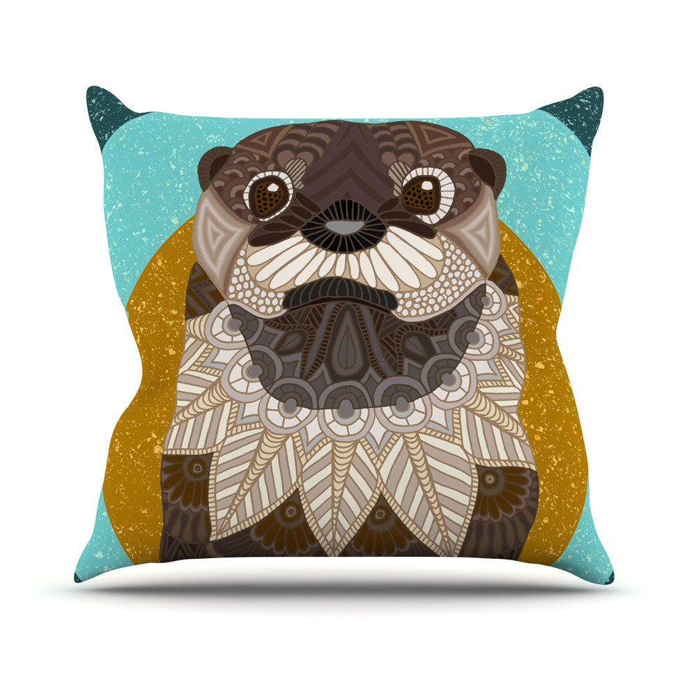 "Art Love Passion ""Otter in Water"" Blue Brown Throw Pillow - KESS InHouse  - 1"