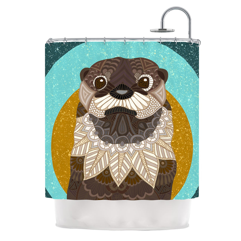 Art Love Passion Otter In Water Blue Brown Shower Curtain