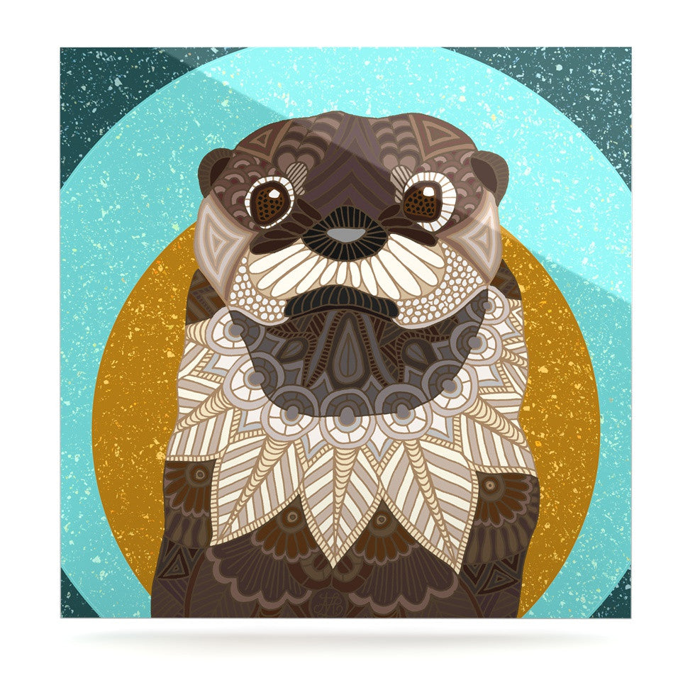 "Art Love Passion ""Otter in Water"" Blue Brown Luxe Square Panel - KESS InHouse  - 1"