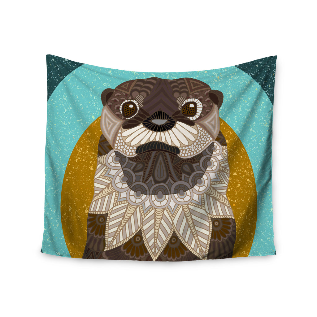 "Art Love Passion ""Otter in Water"" Blue Brown Wall Tapestry - KESS InHouse  - 1"