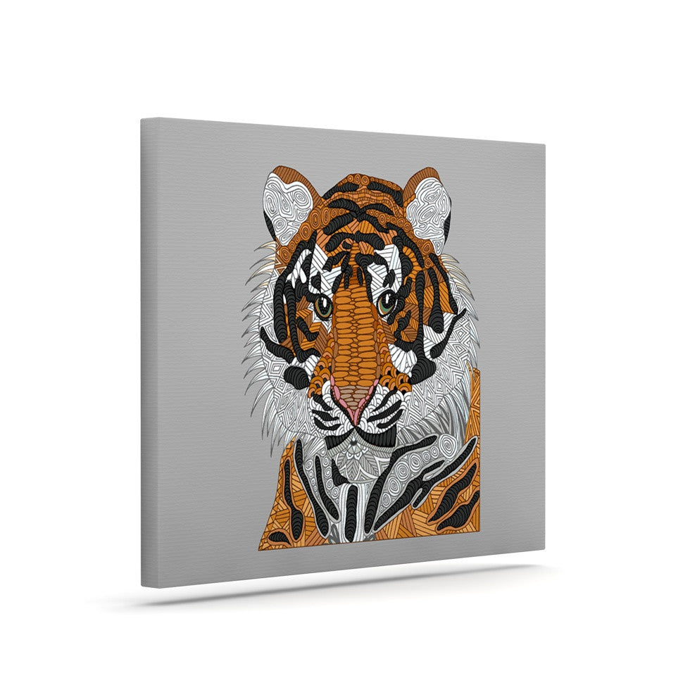 "Art Love Passion ""Tiger"" Gray Orange Canvas Art - KESS InHouse  - 1"