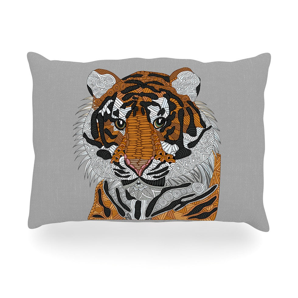 "Art Love Passion ""Tiger"" Gray Orange Oblong Pillow - KESS InHouse"