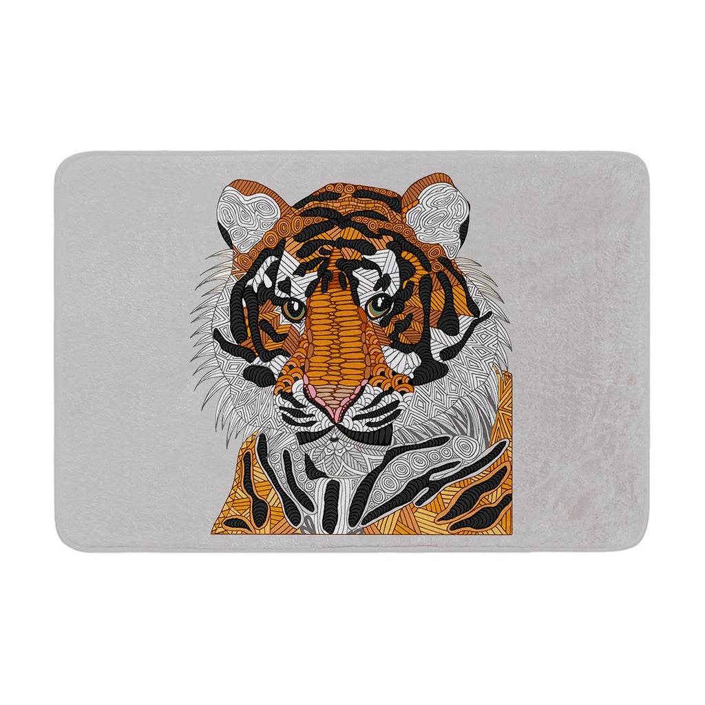 "Art Love Passion ""Tiger"" Gray Orange Memory Foam Bath Mat - KESS InHouse"