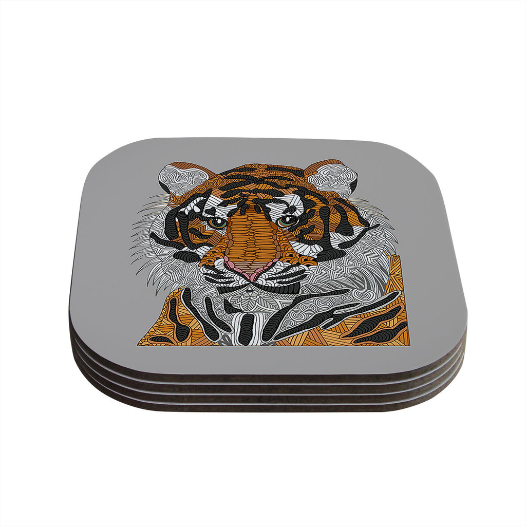 "Art Love Passion ""Tiger"" Gray Orange Coasters (Set of 4)"