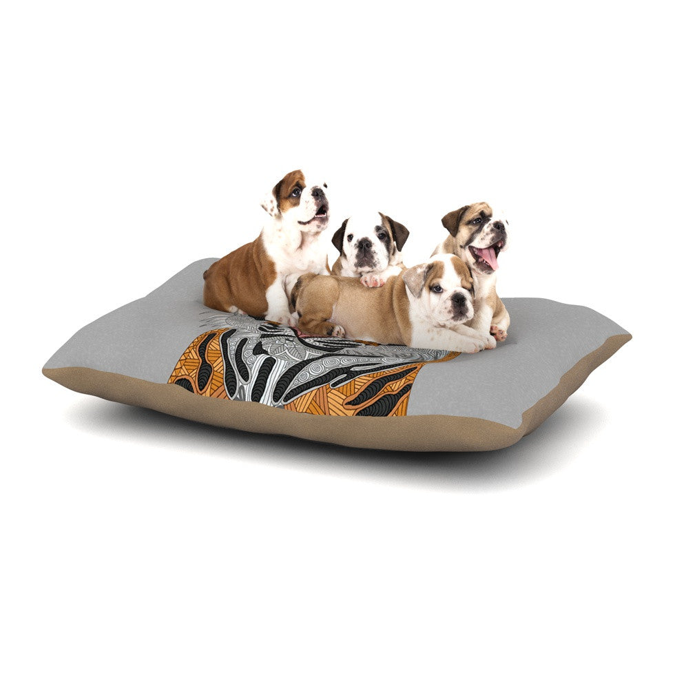 "Art Love Passion ""Tiger"" Gray Orange Dog Bed - KESS InHouse  - 1"