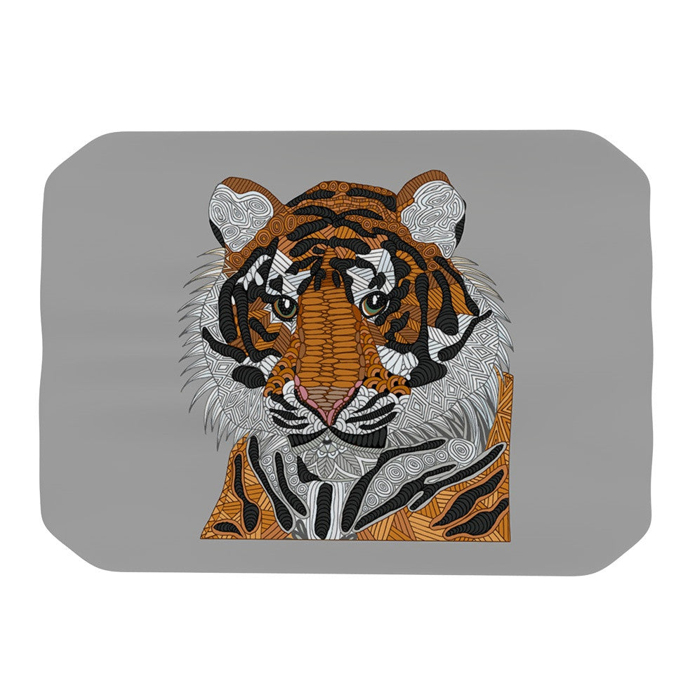 "Art Love Passion ""Tiger"" Gray Orange Place Mat - KESS InHouse"