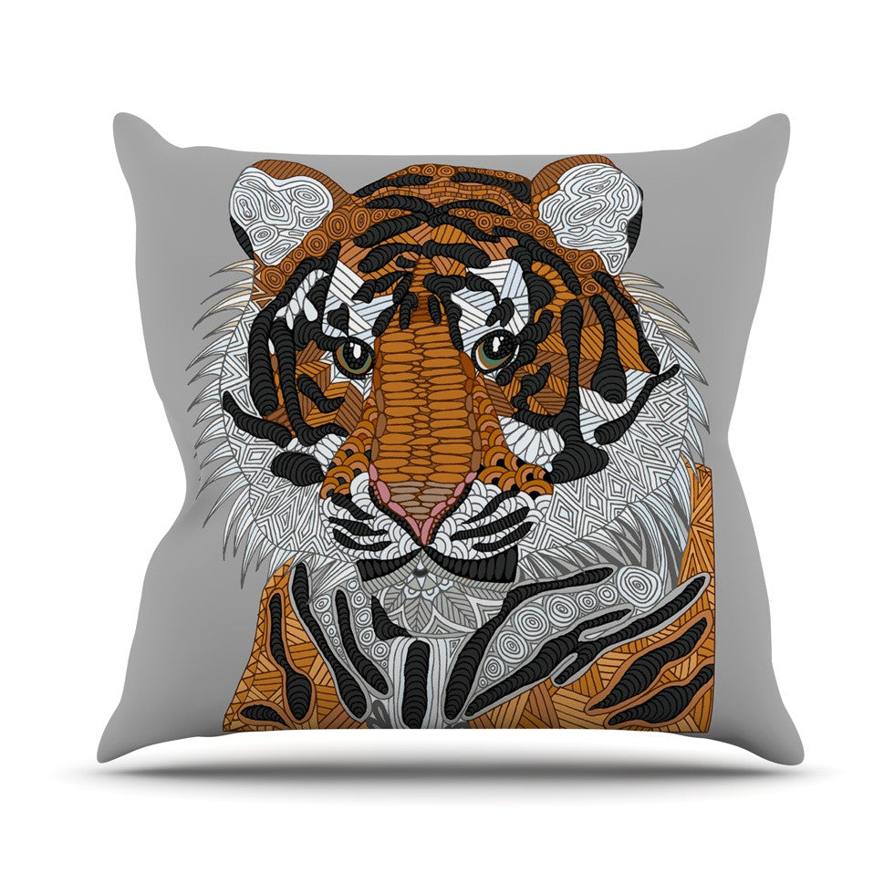 "Art Love Passion ""Tiger"" Gray Orange Outdoor Throw Pillow - KESS InHouse  - 1"
