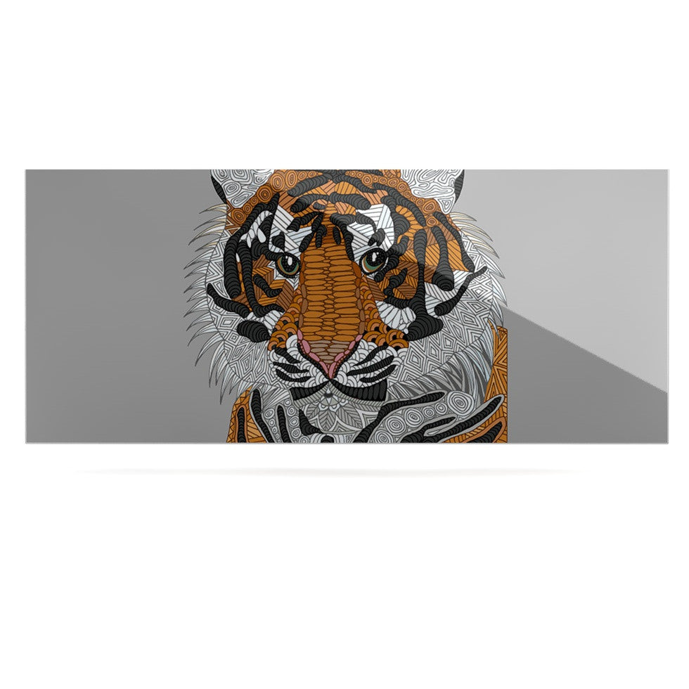 "Art Love Passion ""Tiger"" Gray Orange Luxe Rectangle Panel - KESS InHouse  - 1"