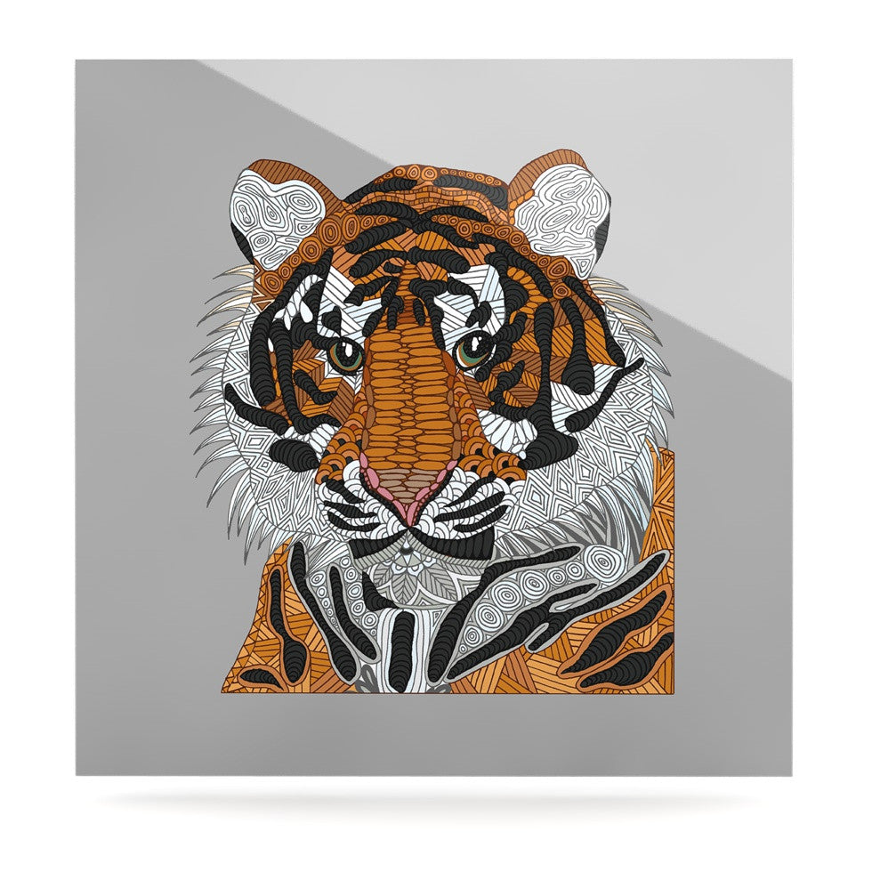 "Art Love Passion ""Tiger"" Gray Orange Luxe Square Panel - KESS InHouse  - 1"