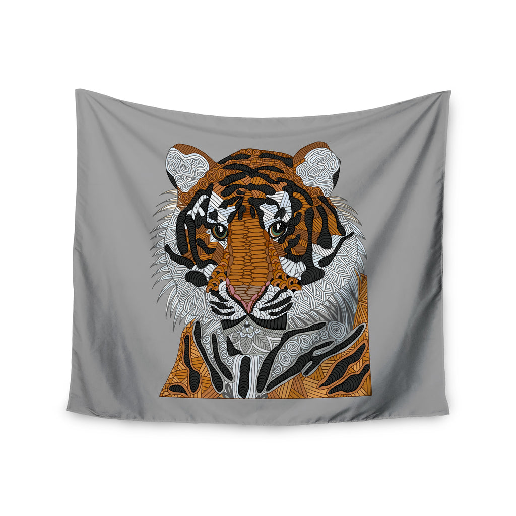"Art Love Passion ""Tiger"" Gray Orange Wall Tapestry - KESS InHouse  - 1"