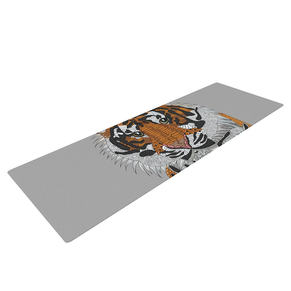 "Art Love Passion ""Tiger"" Gray Orange Yoga Mat - KESS InHouse  - 1"