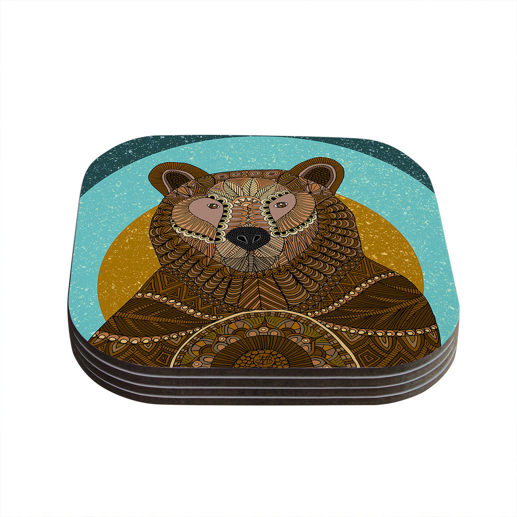 "Art Love Passion ""Bear in Grass"" Brown Blue Coasters (Set of 4)"