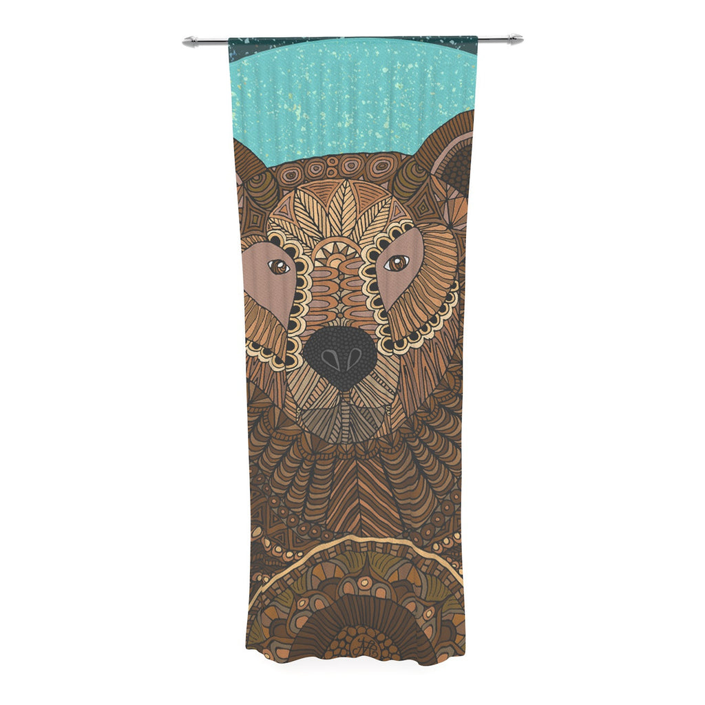 "Art Love Passion ""Bear in Grass"" Brown Blue Decorative Sheer Curtain - KESS InHouse  - 1"