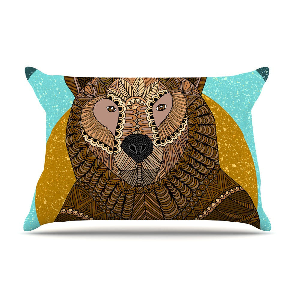 "Art Love Passion ""Bear in Grass"" Brown Blue Pillow Sham - KESS InHouse  - 1"