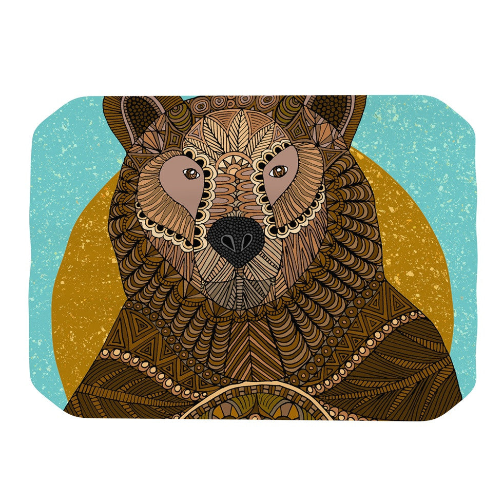 "Art Love Passion ""Bear in Grass"" Brown Blue Place Mat - KESS InHouse"