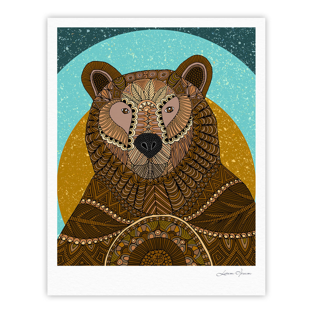 "Art Love Passion ""Bear in Grass"" Brown Blue Fine Art Gallery Print - KESS InHouse"