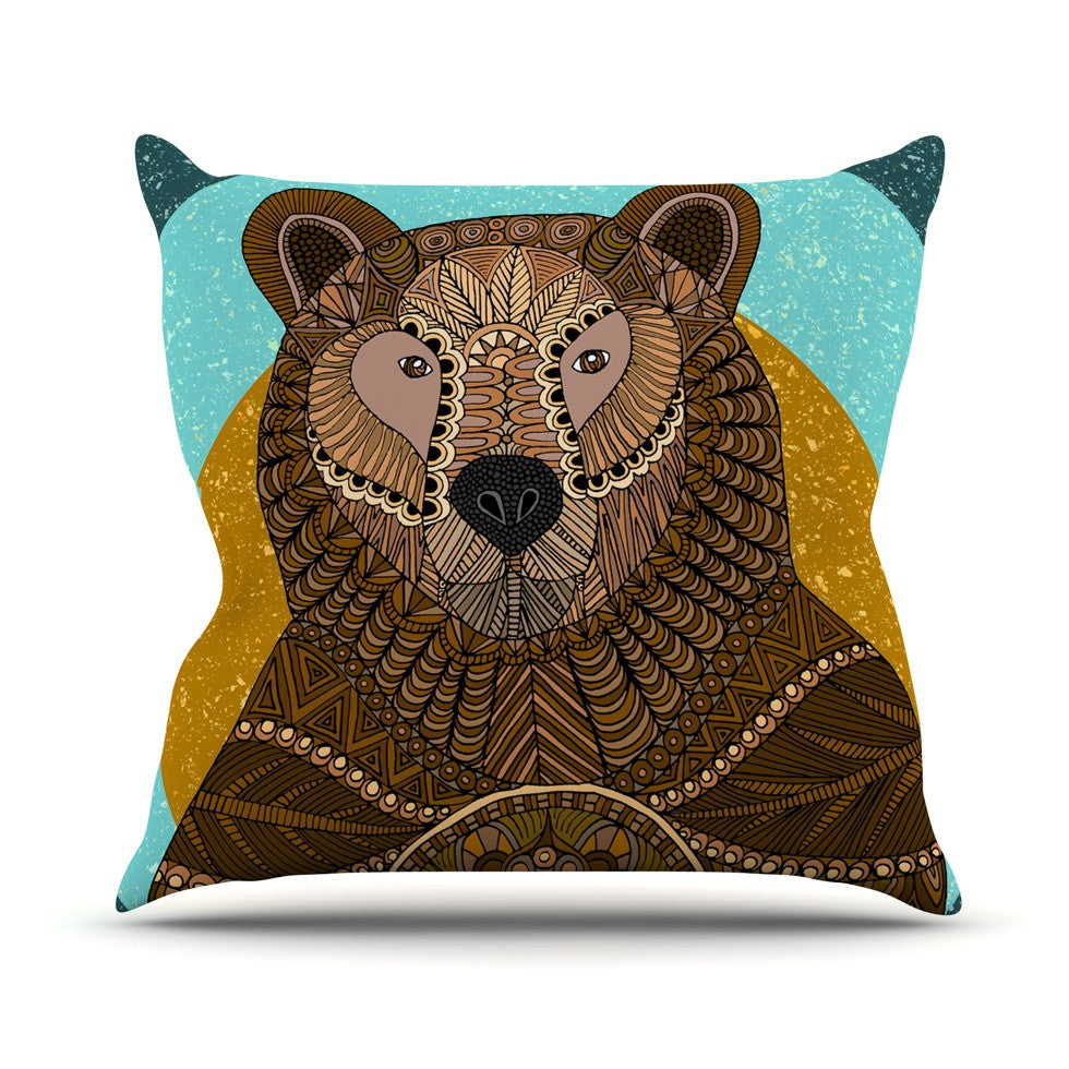 "Art Love Passion ""Bear in Grass"" Brown Blue Outdoor Throw Pillow - KESS InHouse  - 1"
