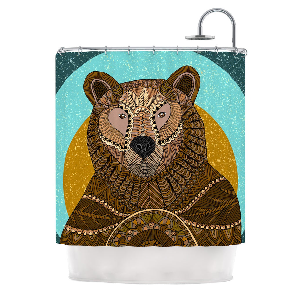 "Art Love Passion ""Bear in Grass"" Brown Blue Shower Curtain - KESS InHouse"