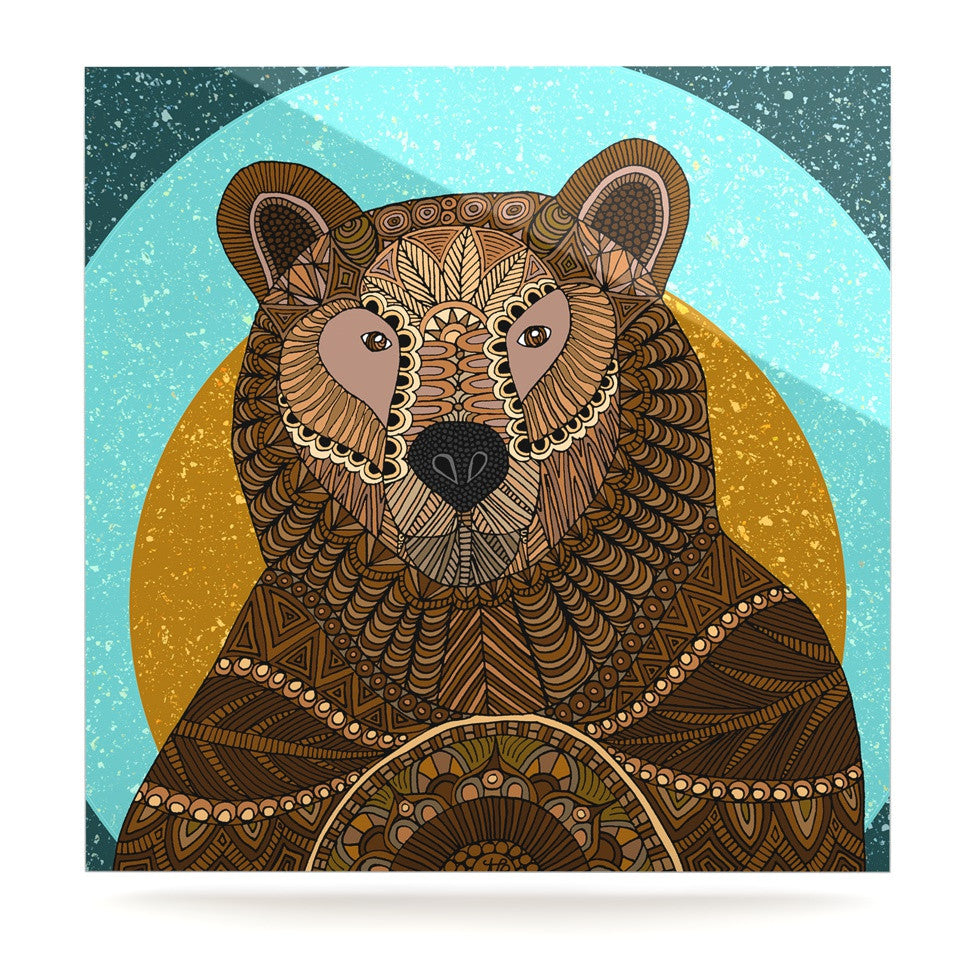"Art Love Passion ""Bear in Grass"" Brown Blue Luxe Square Panel - KESS InHouse  - 1"