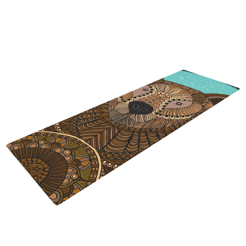 "Art Love Passion ""Bear in Grass"" Brown Blue Yoga Mat - KESS InHouse  - 1"