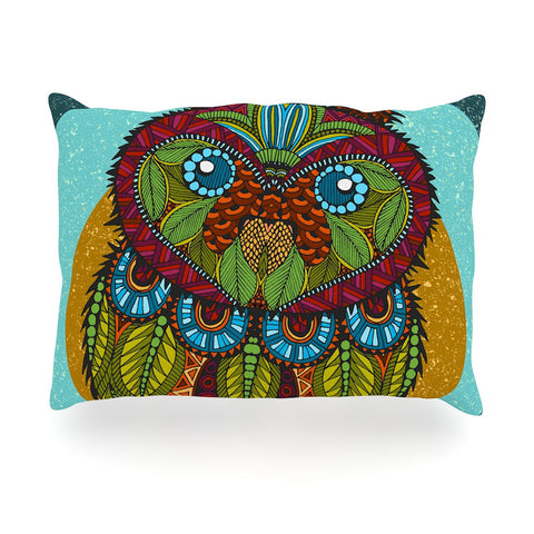 "Art Love Passion ""Owl"" Teal Multicolor Oblong Pillow - KESS InHouse"